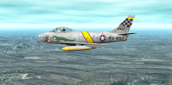 North American F-86 Sabrejet Art Print featuring the digital art The Huff by Walter Colvin