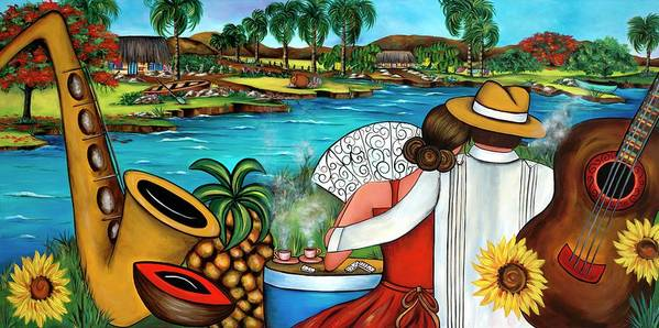 Cuba Art Print featuring the painting A Place To Remember by Annie Maxwell