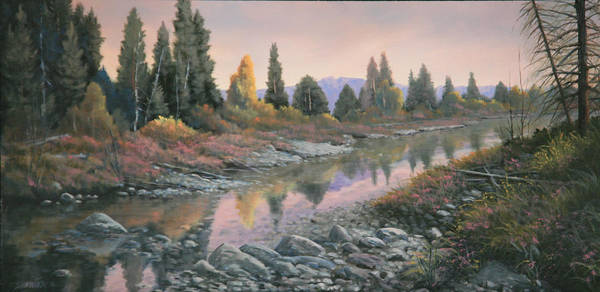Water Art Print featuring the painting 100501-1224 Autumn Reflections by Kenneth Shanika