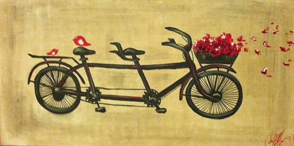 Bicycle Art Print featuring the painting 18x36 Premium Gallery Tandem Bicycle Painting With Red Birds Red Flowers by Candice Griffy