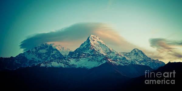 Annapurna Art Print featuring the photograph Annapurna South At Sunrise In Himalayas Artmif Photo Raimond Klavins by Raimond Klavins