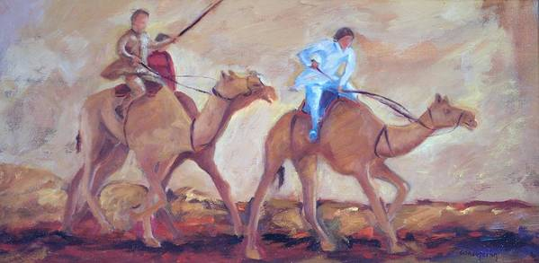 Figurative Art Print featuring the painting A Day At The Camel Races by Ginger Concepcion
