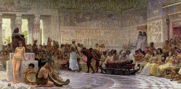 Egyptian Art Print featuring the painting An Egyptian Feast by Edwin Longsden Long
