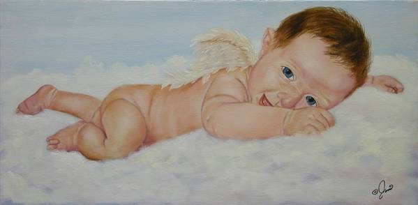 Oil Painting Art Print featuring the painting Baby Cupid by Joni McPherson
