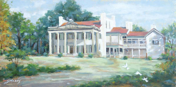 Belle Meade Plantation Art Print featuring the painting Belle Meade Plantation by Sandra Harris