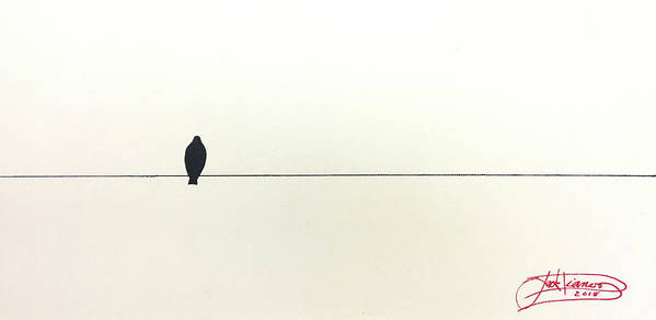 Art Art Print featuring the painting Bird On A Wire by Jack Diamond