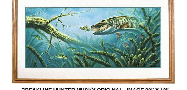 Jon Q Wright Art Print featuring the painting Breakline Hunter Musky by JQ Licensing