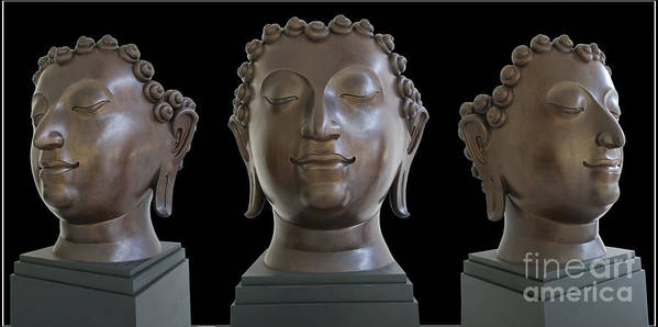 Buddha Head Photography Sculpture Art Print featuring the photograph Buddha Head by Ty Lee