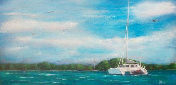 Seascape Art Print featuring the painting Catamaran In Salinas Harbor by Tony Rodriguez
