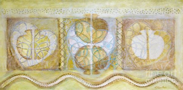Symbolism Art Print featuring the painting Collective Unconscious Three Equals One Equals Enlightenment by Kerryn Madsen- Pietsch