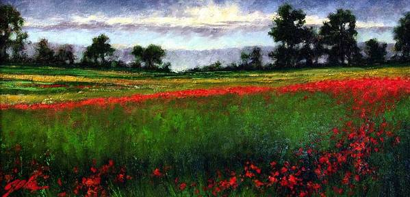 Landscape Art Print featuring the painting Colorburst by Jim Gola