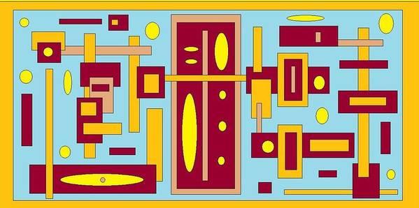 Digital Blue Yellow Artwork Art Print featuring the digital art Country Mood by Jordana Sands