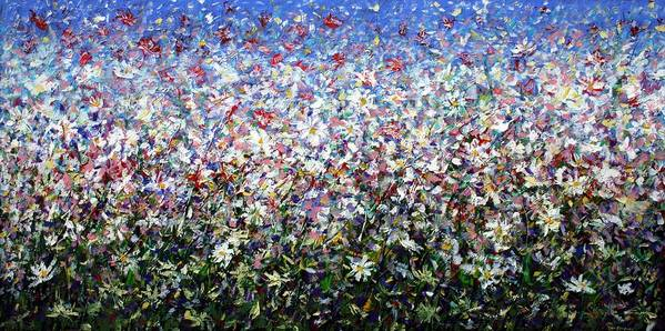 Daisies Art Print featuring the painting Daisies by Mario Zampedroni
