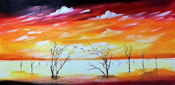 Dead Trees Art Print featuring the painting Dead Trees Reflection by Deepa Sahoo