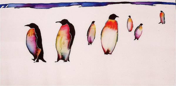 Penguins Art Print featuring the tapestry - textile Emperors On Ice by Carolyn Doe