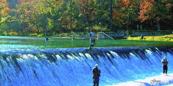 Park Art Print featuring the photograph Fishing The Spillway 2 by Julie Grace