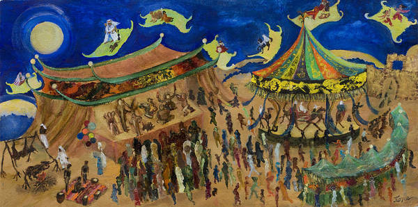 Flying Carpets  Art Print featuring the painting Flying Carpets  by Ione Citrin
