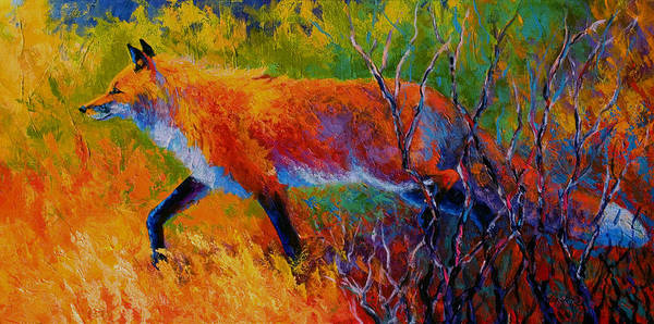 Red Fox Art Print featuring the painting Foxy - Red Fox by Marion Rose