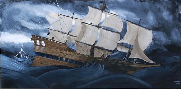 Ship Art Print featuring the painting Fury by Tammy Dunn