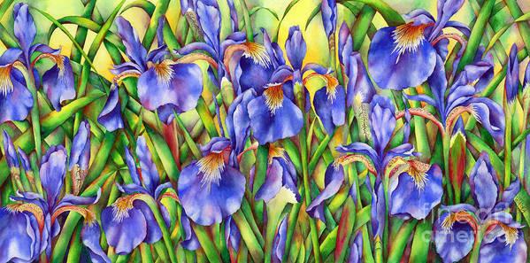 Irises Art Print featuring the painting Glory by Winona Steunenberg