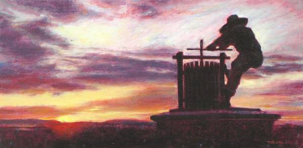 Wine Painting Print featuring the painting Grape Crusher Napa Valley Sunset by Takayuki Harada