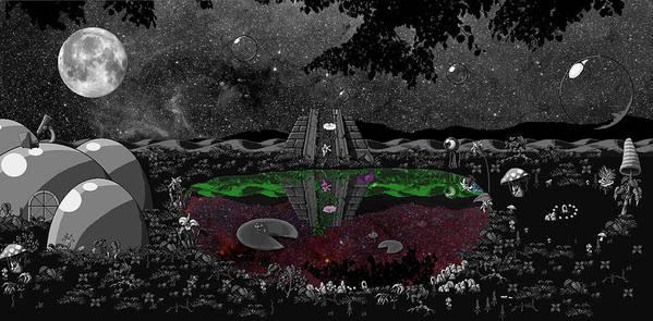 Landscpe Art Print featuring the digital art Lake Of Dreams by Rox Flame