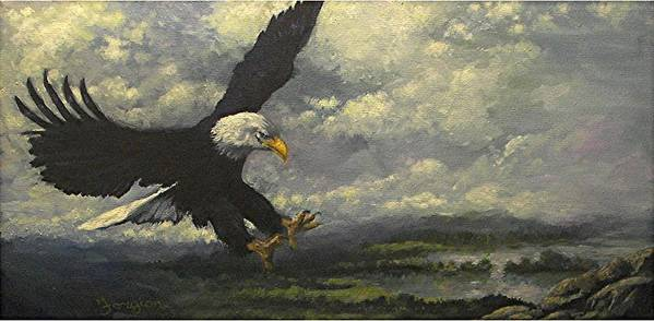 Eagle Art Print featuring the painting Lakeview Eagle by Tom Forgione