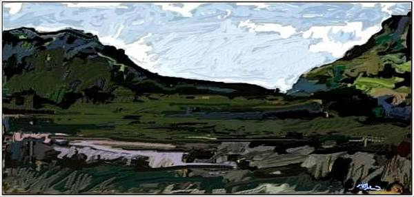 Landscape Art Print featuring the digital art Landscape With Hills Lwh2 by Pemaro