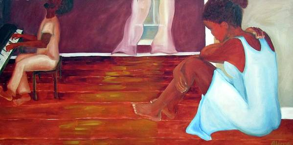 Piano Art Print featuring the painting Longing by Alima Newton
