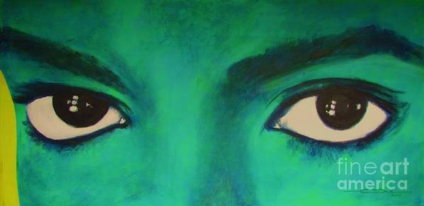 King Of Pop Art Print featuring the painting Michael Jackson - Eyes by Eric Dee