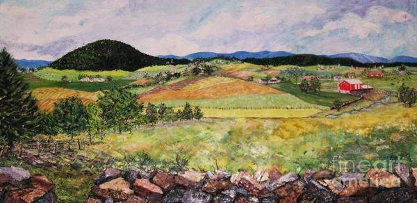 Landscape Art Print featuring the painting Mole Hill In Summer by Judith Espinoza