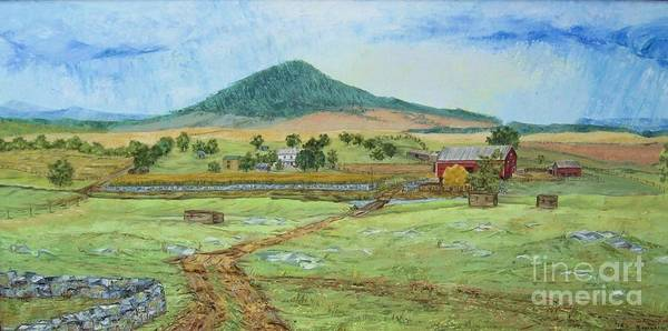 Landscape With Hill In Center Background Art Print featuring the painting Mole Hill Panorama by Judith Espinoza
