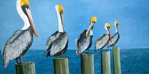 Pelican Art Print featuring the painting Piling On by Jon Ferrentino
