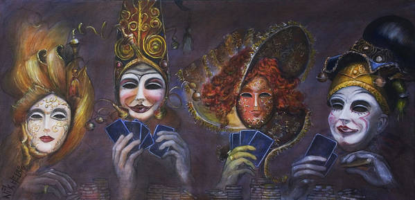 Masks Art Print featuring the painting Poker Face by Nik Helbig
