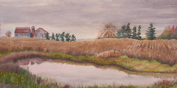 Farm Art Print featuring the painting Pond Magic by Debbie Homewood