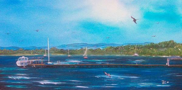 Seascape Art Print featuring the painting Private Dock by Tony Rodriguez