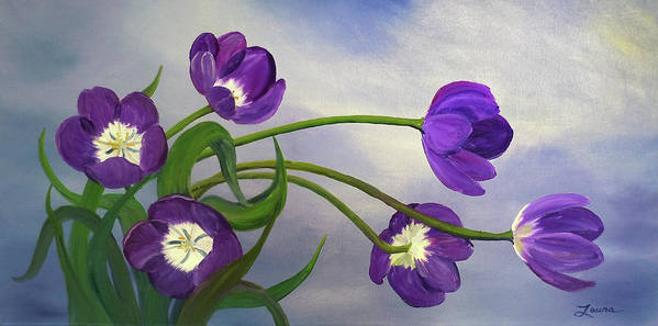 Flower Art Print featuring the painting Purple Tulips by Laura Iverson