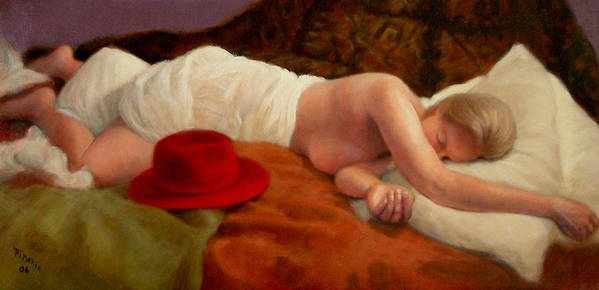 Realism Art Print featuring the painting Red Hat 7 by Donelli DiMaria
