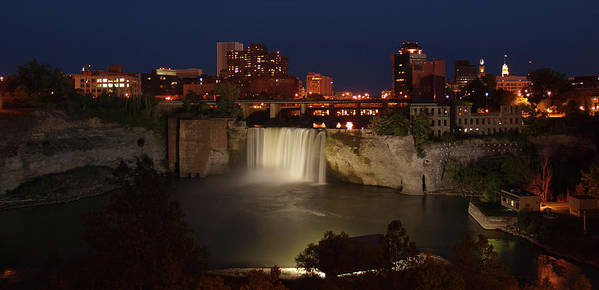 Falls Art Print featuring the photograph Rochester Falls At Dusk by Joseph Gillette