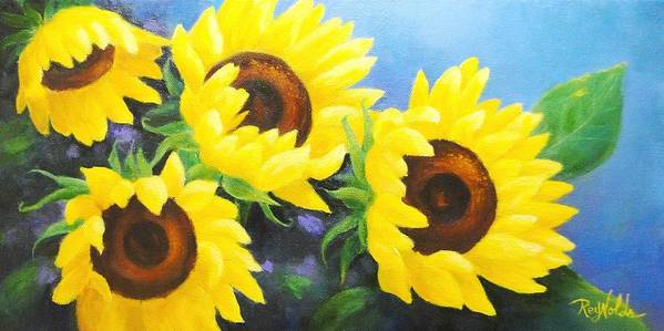 Flowers Art Print featuring the painting Sunflower Foursome by Carol Reynolds