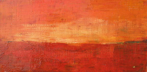 Abstract Art Print featuring the painting Sunset by Habib Ayat