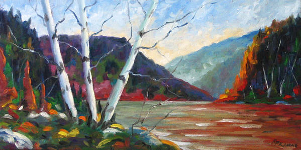 Landscape; Landscapes/scenic; Birches;sun;lake;pranke Art Print featuring the painting Sunset On The Lake by Richard T Pranke