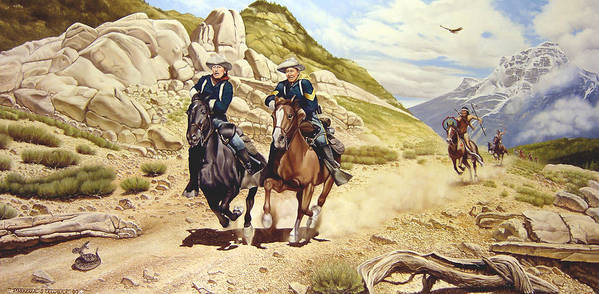 Western Art Print featuring the painting The Chase by Marc Stewart
