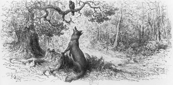 The Crow And The Fox Print featuring the drawing The Crow And The Fox by Gustave Dore
