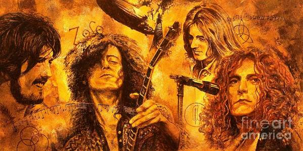 Led Zeppelin Art Print featuring the painting The Legend by Igor Postash