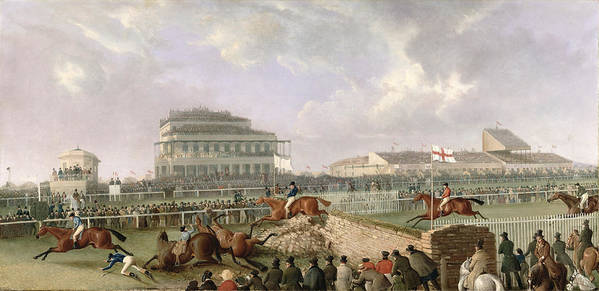 The Art Print featuring the painting The Liverpool And National Steeplechase At Aintree by William Tasker