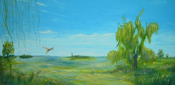 Willow Art Print featuring the painting The Old Cottage On Willow Bay by Daniel W Green