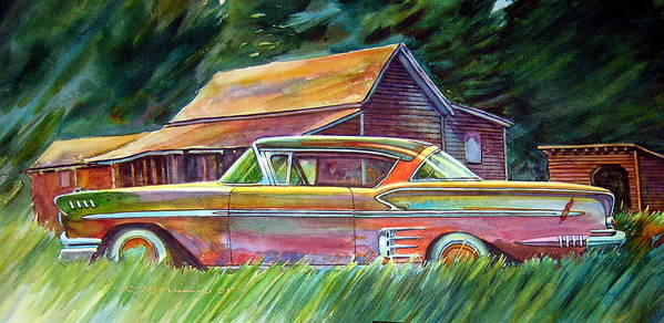 Rusty Car Chev Impala Art Print featuring the painting This Impala Doesn by Ron Morrison