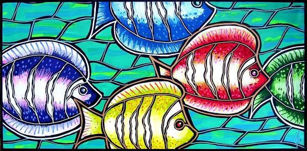 Fish Art Print featuring the painting Tropical Fish Swim by Jim Harris
