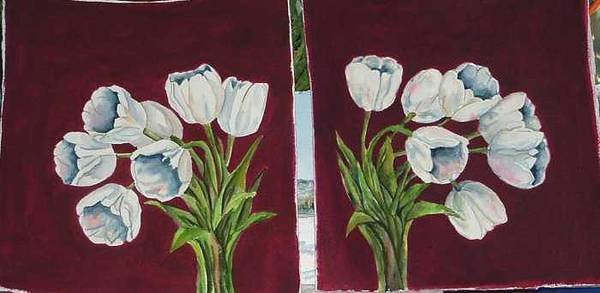 Art Print featuring the painting Tulips 11 And 12 by Diane Ziemski